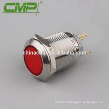Interruptor de botón de luz LED rojo de 22 mm de restablecimiento con cabeza roja