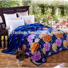 Azul noble mantas con bonito colorido peonía imprimir en tamaño de la reina
