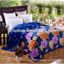 Noble Royal Blue Blankets with nice Colorful Peony Printing In Queen Size