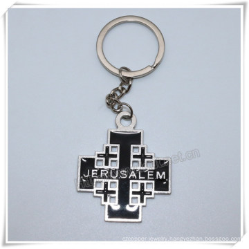 Alloy Metal Black Cross Key Chain Personalized Religious Cross Key Chlder (IO-ck108)