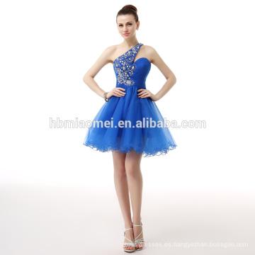 2017 nueva moda un hombro hombro azul Mini Lady vestido de noche