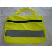 yellow reflective safety bag with reflective tape