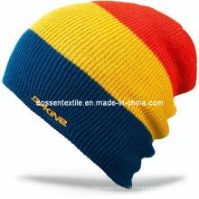 Personalizado bordado Ski Hat Flip Beanie Hat Acrílico Ribbed Boy Snow Knit Cap