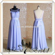RSE76 Real Sample Boat Neckline Organza Sash Backless Long Chiffon Wisteria Bridesmaid Dress