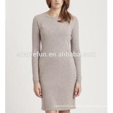 vestido de suéter de cachemira 100% puro y personalizado estilo básico de fábrica
