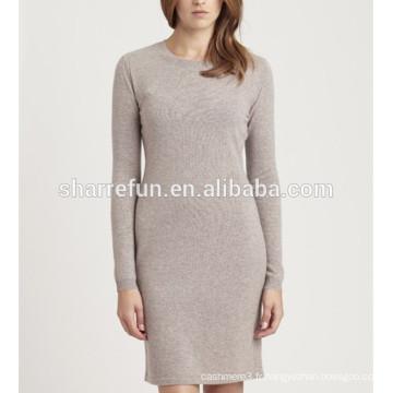 Usine personnalisée et en gros de base style 100% pur chandail en cachemire robe
