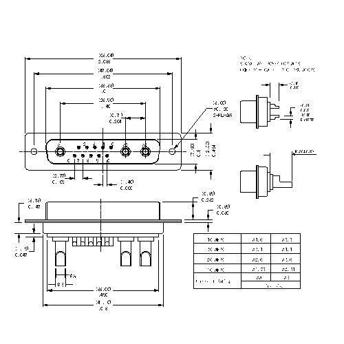 PDB13W3-FXXX POWER D-SUB 13W3 SOLDER CUP-FEMALE