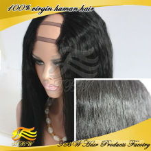 TBW new products #1 jet black u part wig yaki straight middle parting wholesale u part wigs