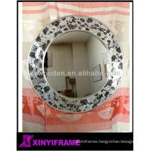 New Design Wooden Mosaic Decorative Round Wall Mirror Frame