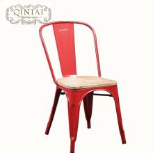 Chaise en métal de siège en bois de conception simple industrielle vintage en gros colorée