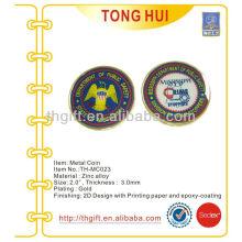 Impresión de etiquetas Metal Moneda conmemorativa, moneda de recuerdo con epoxi