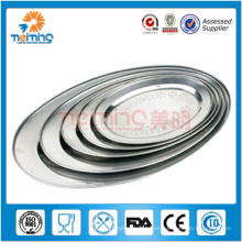 placa de cena grande oval de acero inoxidable de alta calidad