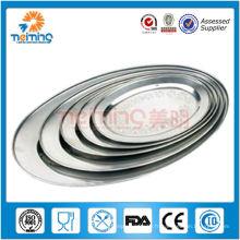 Grande assiette ovale en acier inoxydable de haute qualité