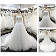 Vestidos de casamento de marfim de moda 2016 Strapless vestidos de Noivas Plus Size Princess Vestido de noiva de cintura real Imagem real A010