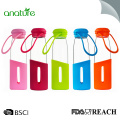 360ML Silicone Sleeve Borosilicate Glass Water Bottle