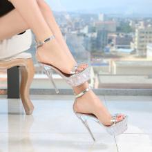 2021 crystal transparent super high heel waterproof platform walk show night club high heel sandals