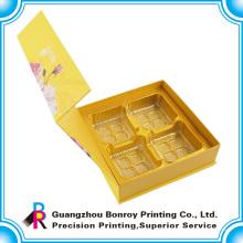 Embalaje de lujo de la caja de la torta del regalo de la cartulina amarilla de encargo