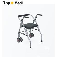 Topmedi Médico dobrável Rollator de alumínio com duas rodas