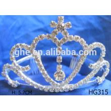 La tiara del partido corona el rhinestone de plata tiaras rosa los cabritos tiara de la princesa