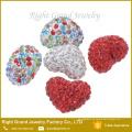 8mm, 10mm, 12mm Mezcla de cuentas de Shamballa con forma de corazón en forma de corazón