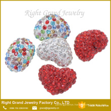 8mm,10mm,12mm Mixed Color Heart Shaped Loose Shamballa Bead