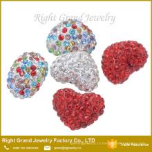 8мм,10мм,12мм смешанный Цвет в форме сердца свободные шарика shamballa
