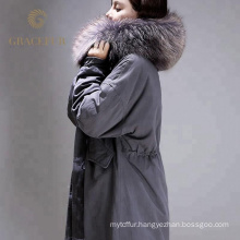 Quality assurance winter down coats with raccoon hoodf for women