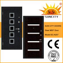 Porte blindée en acier MDF à panneaux en bois avec bandes en aluminium (SC-A207)