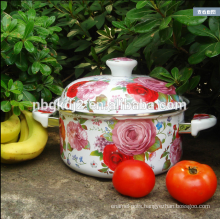 large enamel cookware with wooden knob