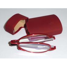 Óculos de leitura de metal com caixa de plástico