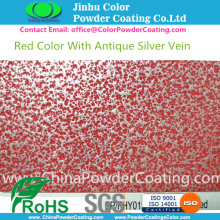 RAL3020 röd med antika Silver Vein Powder Coatings