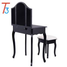 black modern wood mirrored dresser furniture dressing table