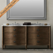 Dark Finishing Solid Wood Floor Mounted Bathroom Cabinet