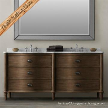 Dark Finishing Solid Wood Floor Mounted Bathroom Cabinet