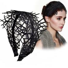 Bandeau Opaska Lace Hyperbolic Wide Tassel Hollow Headband For Women Retro Hair Accessories Designer Bride Hairband Wedding Girl Wholesale