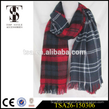 2016 fashion style check reversible fan acrylic scarf golden supplier in china