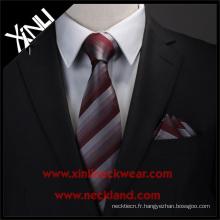 Laver à sec seulement polyester tissé jacquard tissé personnalisé cravates hommes