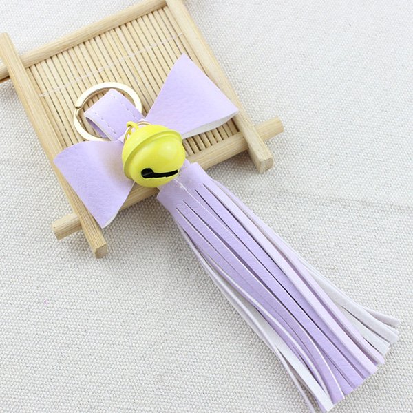 Bowknot Bell Leather Keyring
