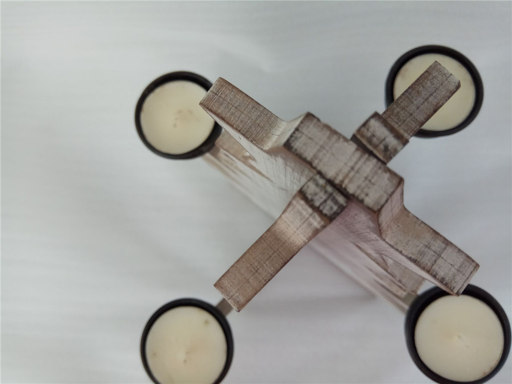 white-wash wooden candle holer