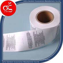 Etiqueta barata do cuidado da impressão da lavagem do Polyster do rolo 100% do preço