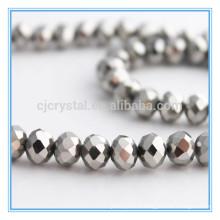Perles en cristal d'argent, perles en vrac, perles rondelles