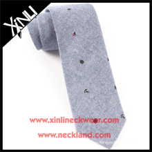 100% Cotton Ties with Mainsail Motif Chambray Skinny Tie
