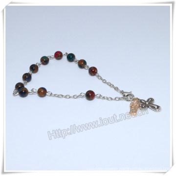 New Colourful Stone Beads Catholic Rosary Bracelet on Chain (IO-CB181)