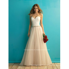 Vestido de novia de encaje de novia de marfil hermosa A-Line vestido de novia