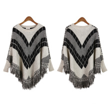Womens Cardigan Wraps Winter gestrickte Kabel Fransen Shawls Poncho Sweater (SP613)