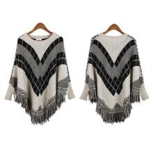Cárdigan para mujer envuelve suéter de poncho de punto de invierno con flecos de cable (SP613)