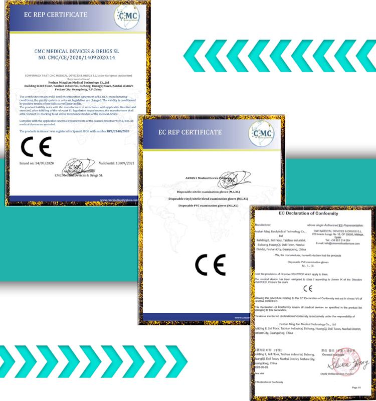 Mingjian PVC Gloves Certifications