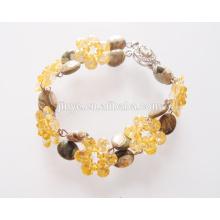 Moda artesanal pedra natural multi flor declaração pulseira