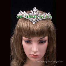 Perla de diamante de imitación Tiara representación Crystal Crown