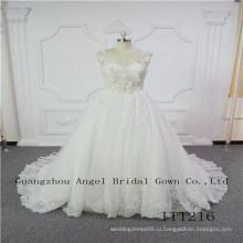 Уникальные кружева с бисером платье невесты дизайн